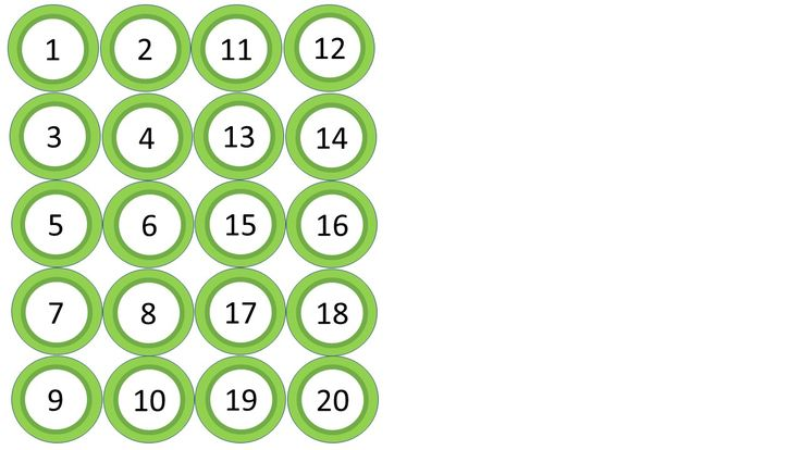 Circle labels numbered 1-20 (lime green). Can be used to label student cubbies, coat racks, files, etc.