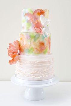 watercolor ruffled painted spring wedding cake