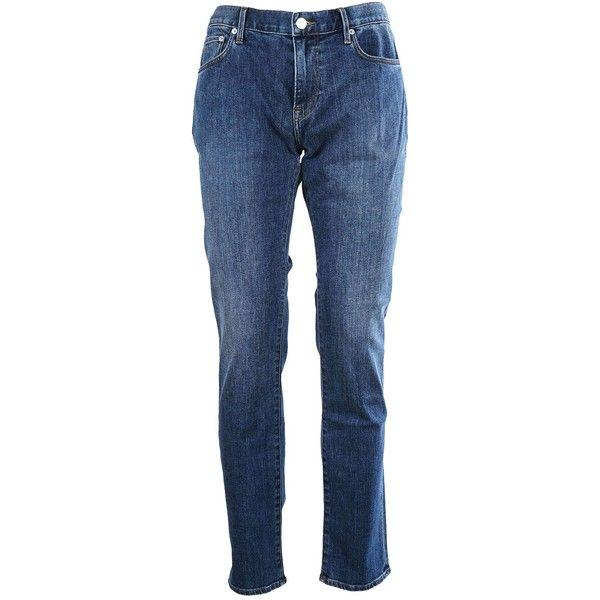 Slim Fit Jeans (365 CAD) ❤ liked on Polyvore featuring men's fashion, men's clothing, men's jeans, denim scuro, menclothingjeans, burberry mens jeans, mens button fly jeans, mens denim jeans and mens patched jeans