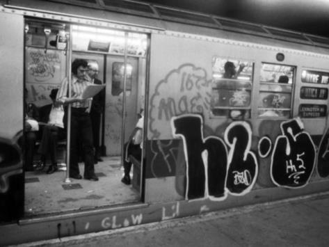 1970's New York City Subway with graffiti of course.