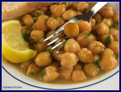 Kahakai Kitchen: (Soupy) Baked Chickpeas--Revithada from Food From Many Greek Kitchens for Souper (Soup, Salad & Sammie) Sundays
