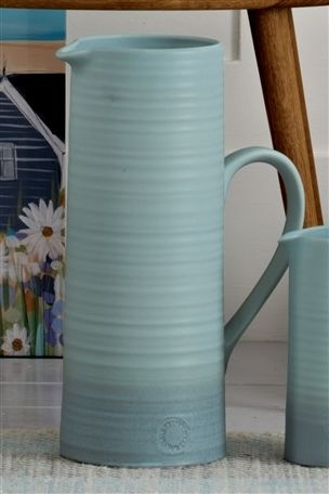 Large Blue Ribbed Jug