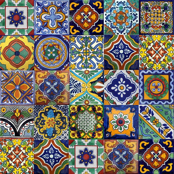 40 6x6 Mexican Ceramic Tiles by myrustica on Etsy