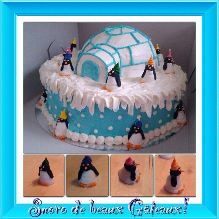 "Cake igloo penguin gâteau igloo pinguouin by/par ""Snoro de beaux gâteaux"""