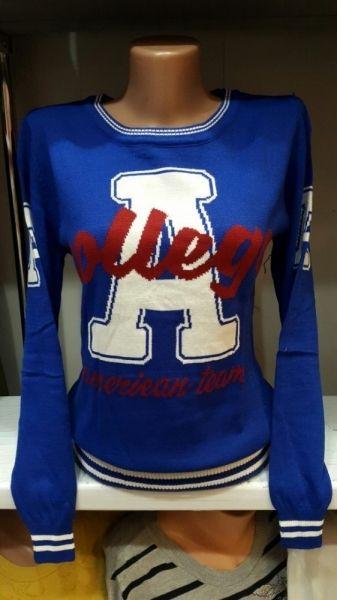 Кофта женская модная вязанная спортивный стиль College синий