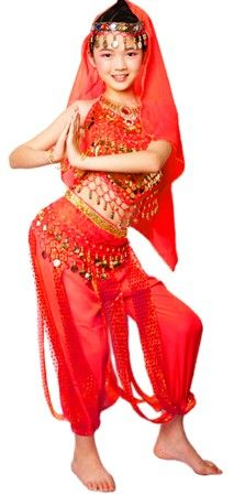 ARABIAN PRINCESS GIRLS BELLY DANCER COSTUME (RED) , Item 5050 on www.