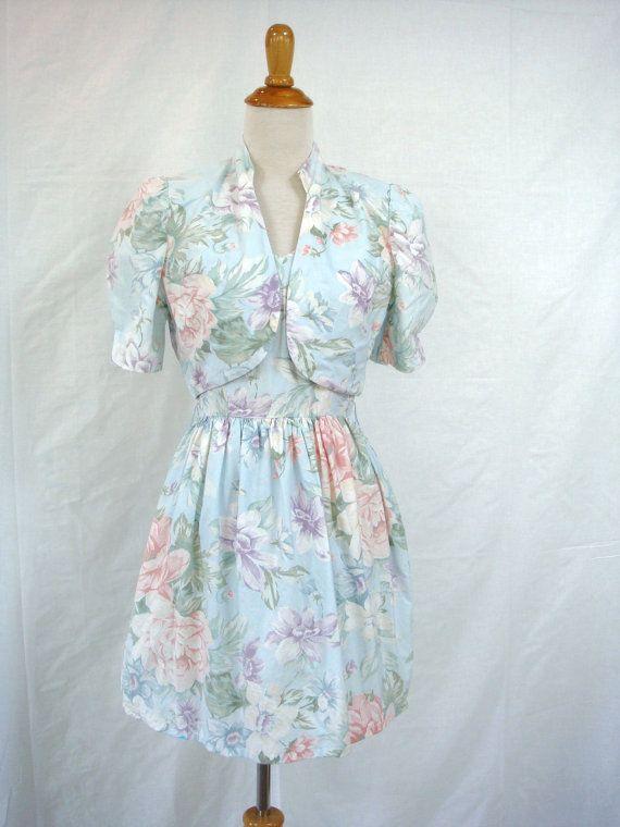 años 80 PASTEL vestido SET vintage floral vestido + chaqueta recortada M