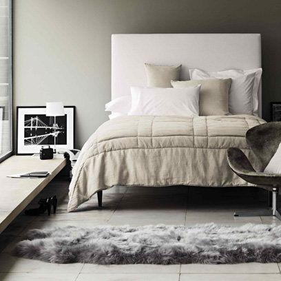 Animal skin rug in grey bedroom decorating ideas for Animal bedroom ideas
