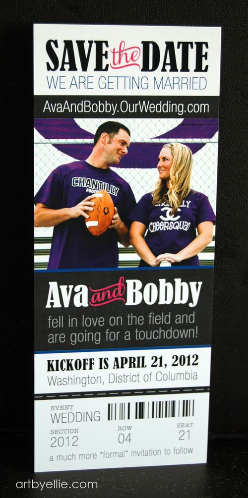 Custom save-the-date: Football ticket, with photo.