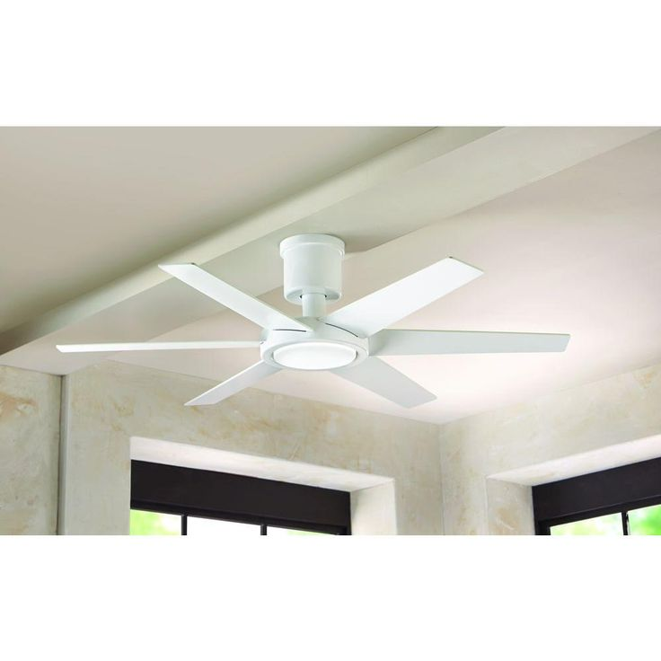 Home Decorators Collection Clermont 52 In LED Indoor Glossy White Ceiling Fan With Light Kit And Remote Control