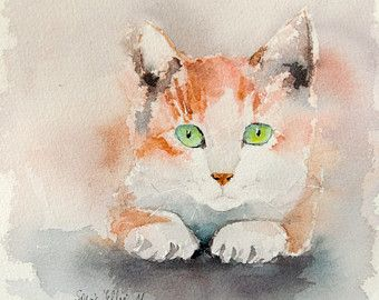 Original watercolor of a looking up kitten - Original painting of a tabby cat with a warm brownish color  Original Looking up kitten painted by Martine Jacquel Saint Ellier   Original painting : Watercolor 7,87 x 7,87  Support paper : handmade khadi paper 140lb painted with extra fine watercolors.   You are purchasing direct from the artist. The painting comes signed and dated. This is a unique original painting which is sold UNFRAMED. All paintings are gift wrapped in a cellophane insert…