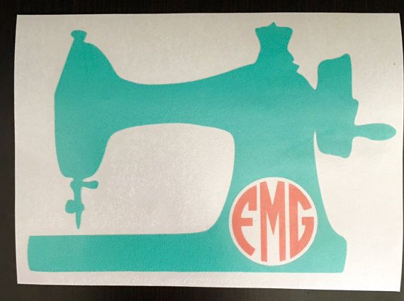 Love my Car Decal!!!! Monogrammed Sewing Machine Decal Monogrammed by KMFCustomDesigns