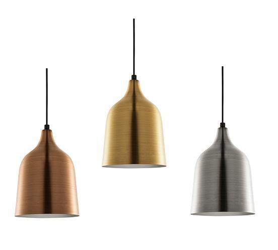 Pendente cônico em metal antique cores latão, prata e cobre - Mart - Ponto de Luz