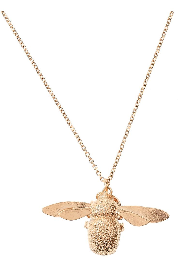 Alex Monroe | 22-karat rose gold-plated bumblebee necklace