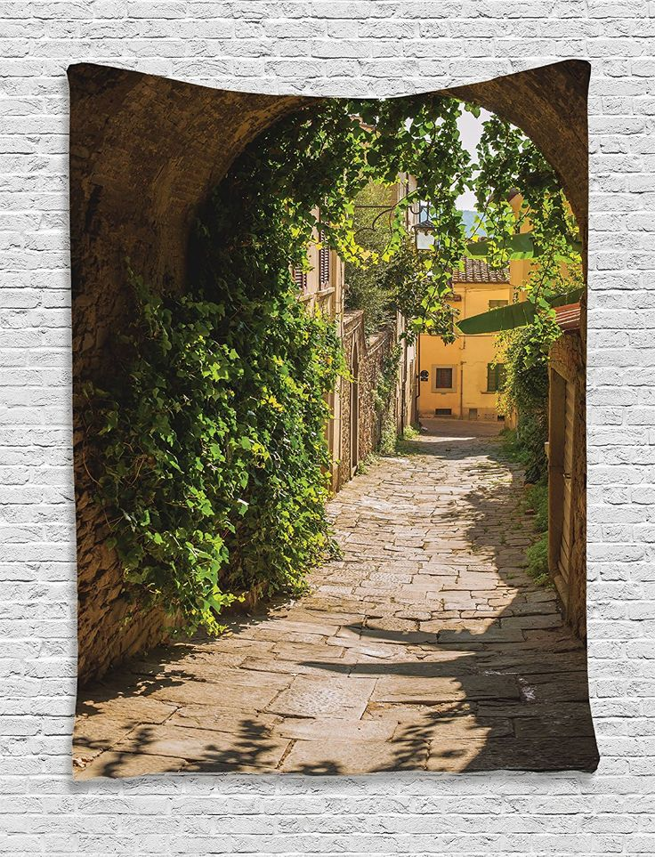 Medieval Decor Tapestry by Ambesonne, Streets Of Tuscany Old Mediterranean Middle Age Town European High Culture Italy Photo, Bedroom Living Room Dorm Decor, 40 W x 60 L Inches, Grey Green * Continue to the product at the image link. (This is an affiliate link and I receive a commission for the sales)