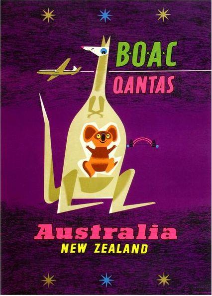 Stylised kangaroo and koala incorporated into vintage poster promoting travel to Australia and New Zealand via BOAC(British Airways)/QANTAS