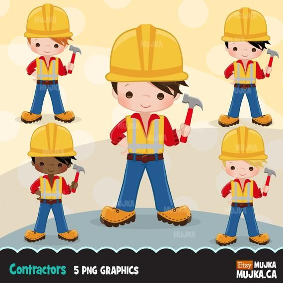 Construction Clipart Little Boy Contractor Graphics Hard Etsy Planner Stickers Clip Art Construction For Kids