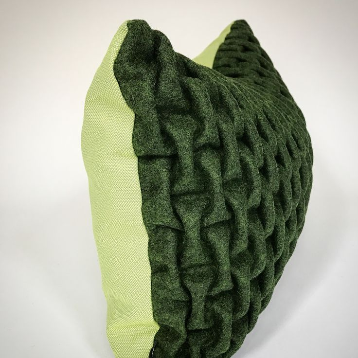 mobel of rum. SMOCK CUSHION. Sewn by hand from Kvadrat textiles. Green/Green. Made in Copenhagen.