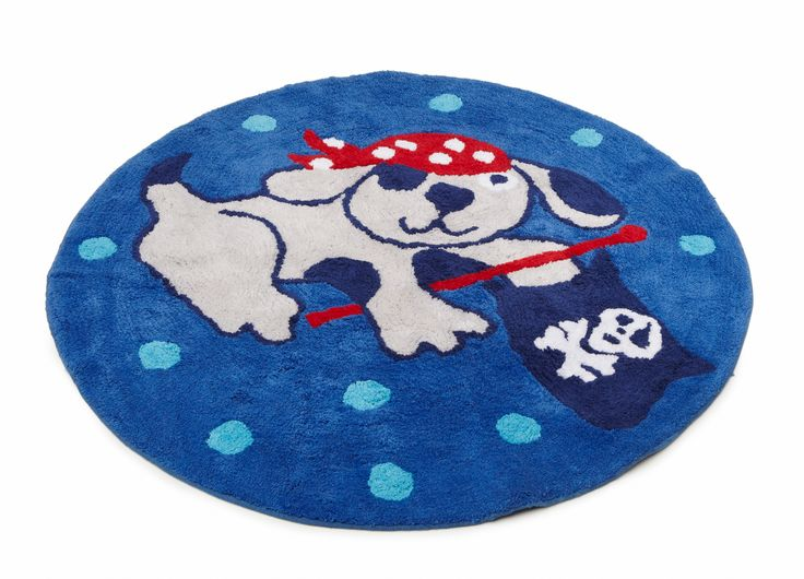 'Ahoy There' Floor rug featuring doggy pirate from the boys bedlinen range at pilbeam.com.au