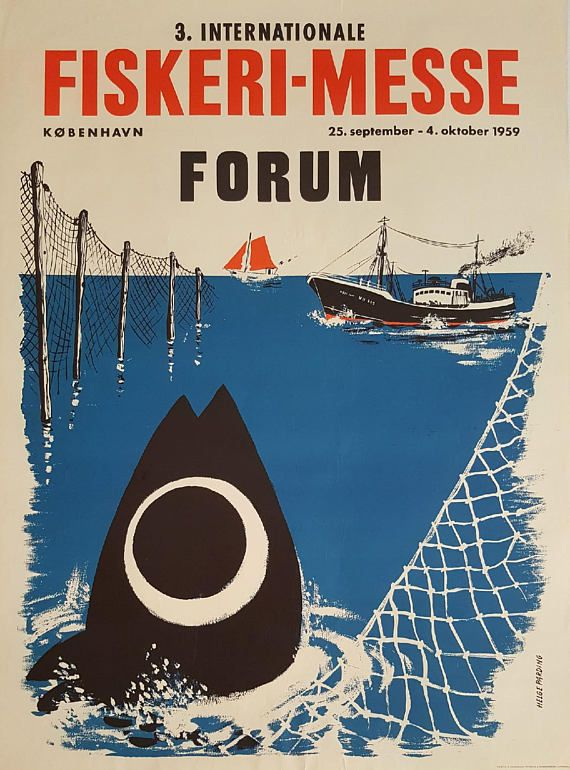 1959 Fishing Fair Copenhagen  Original Vintage Poster