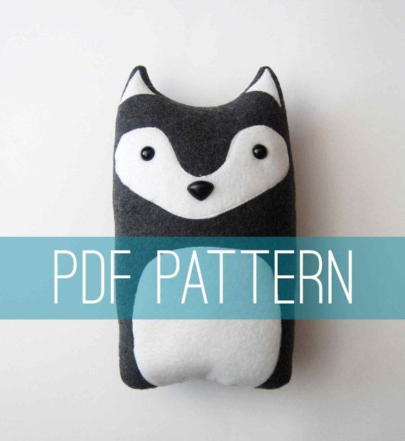 Now you can make your very own wolf pillow plush with this downloadable PDF pattern! You can use either a sewing machine or sew this fellow up by