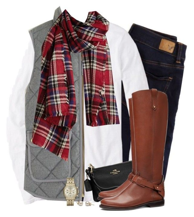 """Gray J.crew vest & red plaid scarf"" by steffiestaffie ❤ liked on Polyvore featuring American Eagle Outfitters, J.Crew, Coach, Tory Burch and Michael Kors"