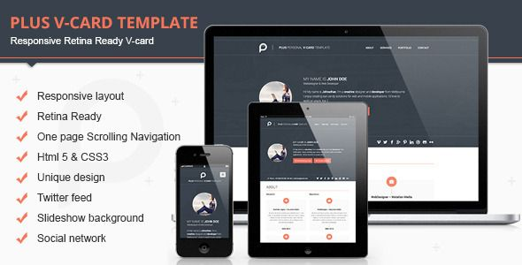 Plus Responsive Retina Ready V-card Template