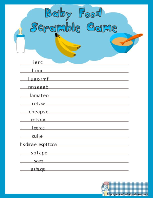 Free Printable Baby Shower Game Templates Part - 18: Free Printable Baby Food Scramble Game For Baby Shower Baby Shower Games  Printable Baby Girl Name Race Game