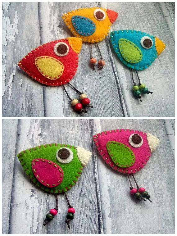 Bird felt brooch – red yellow blue green orange bi…