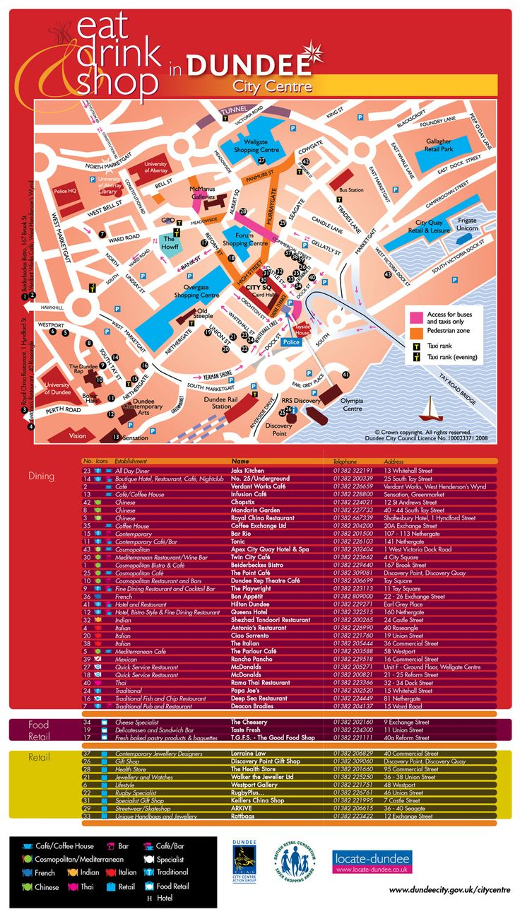 Eat Drink Shop Dundee - City Centre Map