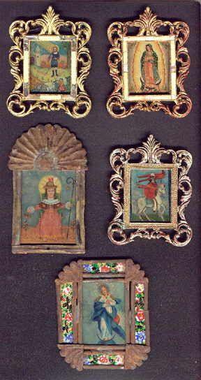 Mexican Antiques. Retablos, Santos, Colonial Spanish Art and Decorations.