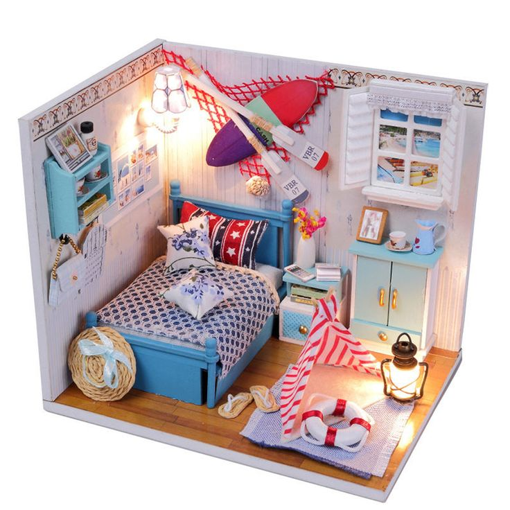 New Kits DIY Wood Dollhouse miniature with LED+Furniture+cover Doll house room #Hoomda