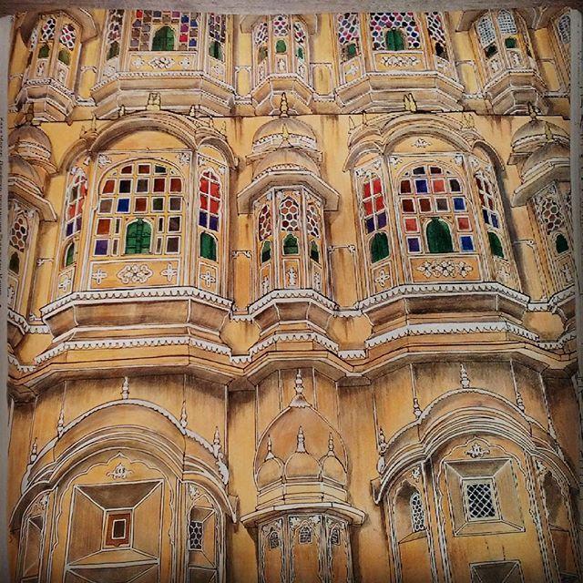 #stevemcdonald #fantasticstructures #art #artwork #artbook #colorbook #india #jaipur #hawamahal  Finished! Хава-Махала — пятиярусное гаремное крыло дворцового комплекса джайпурского махараджи Савай Пратап Сингха (правил в 1778— 1803), построенное из розового песчаника в форме венца Кришны не позднее 1799 года.  Фасад здания пронизан 953-мя крохотными оконными отверстиями, которые позволяли продувать внутренность в знойные дни. Отсюда название сооружения — «дворец ветров». Хава-Махал —…