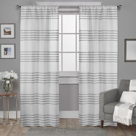 Exclusive Home Monet Sheer Linen Pleated Cabana Stripe Rod Pocket Window Curtain Panel Pair, Silver, 54x96