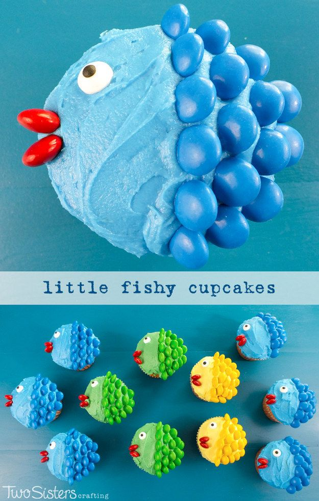 Create a school of fish with M&M scales. | 27 Creative Ways To Decorate Cupcakes That Are Easy AF