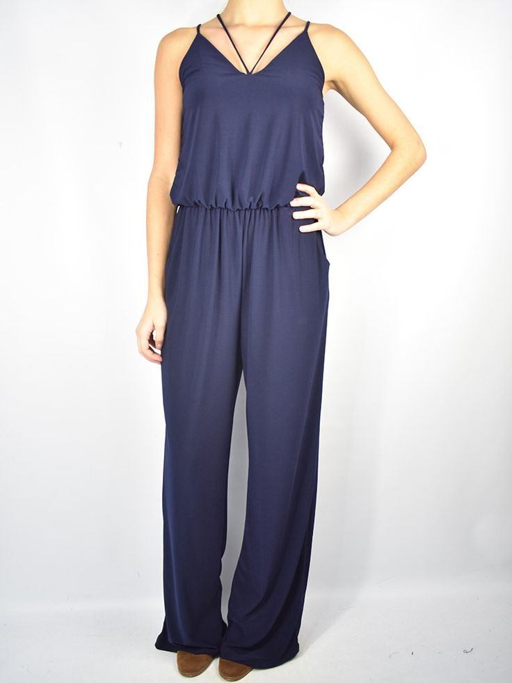 Navy Strappy Top Jumpsuit W Pockets