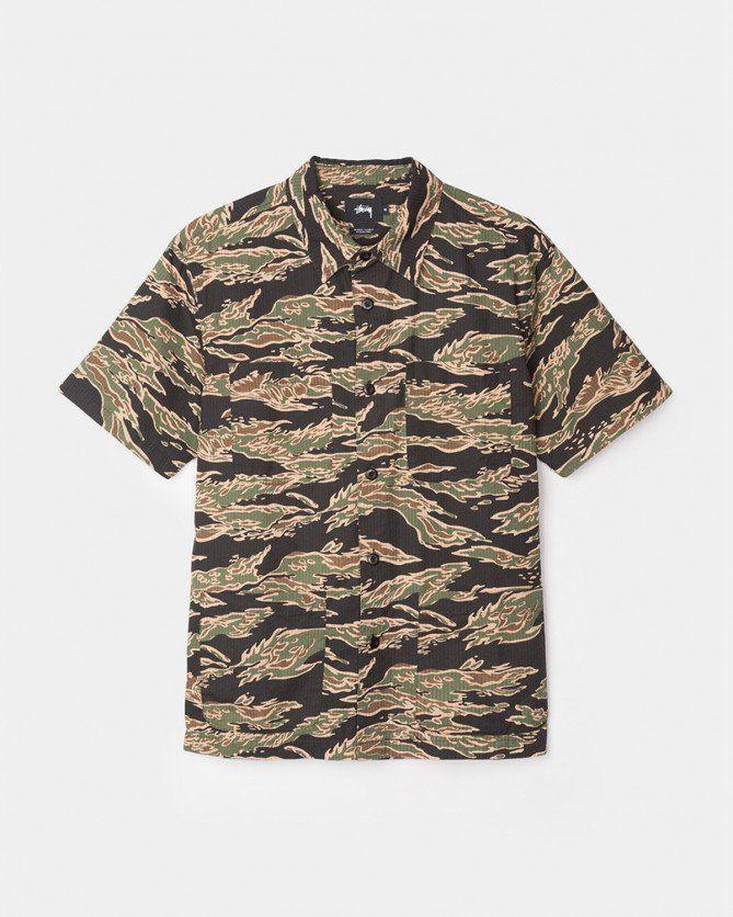 Stussy Seersucker Safari Shirt (Camo)