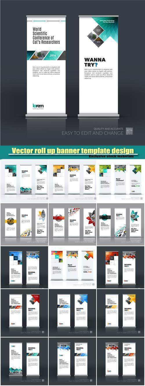 Business vector set of modern roll Up Banner