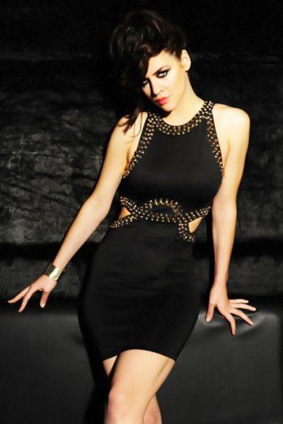 Side Cut out Stud Decor Bodycon Mini Dress