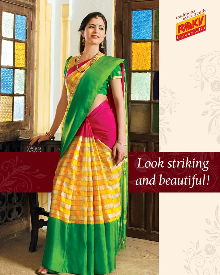 Be ethnically modern with this traditional checked yellow Uppada silk saree that has hot pink and green border and is attractive to the core. Click to view - https://www.rmkv.com/product/wedding-collections1604-15363