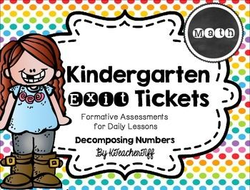 Kindergarten Exit Tickets FREEBIE: Decomposing Numbers - quick assessments for daily lessons!
