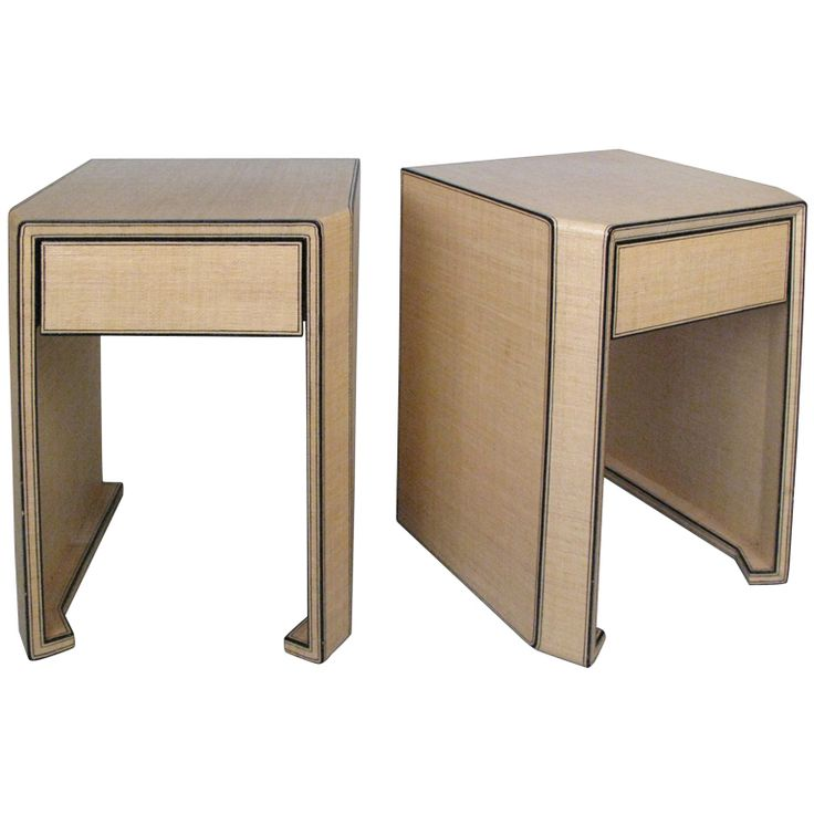 1stdibs | Pair Of Lacquered Linen Nightstands Style Of Karl Springer