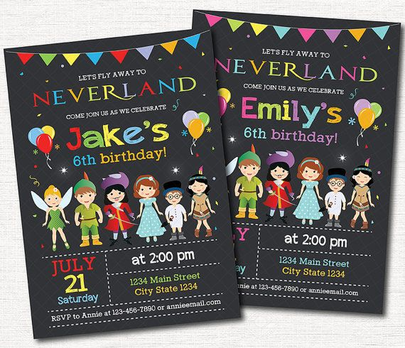 Neverland Invitation Neverland Invite Boys by YelloWhaleDesigns