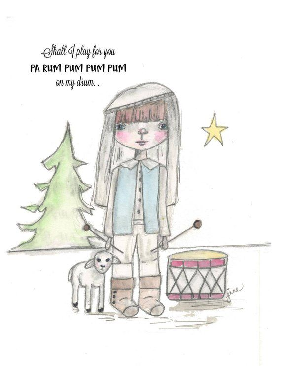 Christmas Notecard.Drummer Boy Christmas Notecard Custom Hand Drawn Little Drummer Boy