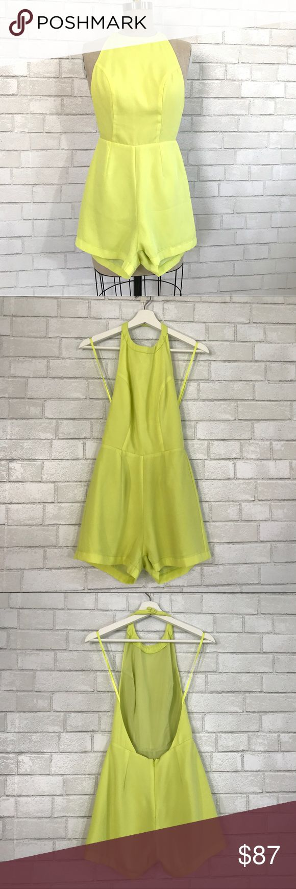 Lime green halter Romper NWOT Perfect summer Halter Romper in a lime green.   Size 6,  light poly blend fabric, full lining, invisible back zipper, halter button top. new no tag never worn, comes with e tea button. Retail $164 plus Tax.   Ⓜ️waist 26 Ⓜ️rise 12 Ⓜ️inseam 2.5 Ⓜ️Length 31  Ⓜ️ Torso 29  ✅Bundle and save  ✅🚭 🚫No Trading 🙅🏻 Poshmark rules only‼️ Mika & Gala  Pants Jumpsuits & Rompers
