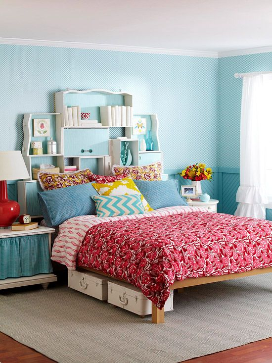 Bedroom Bliss - old dresser drawers painted and tipped on their sides to make a storage headboard!  love