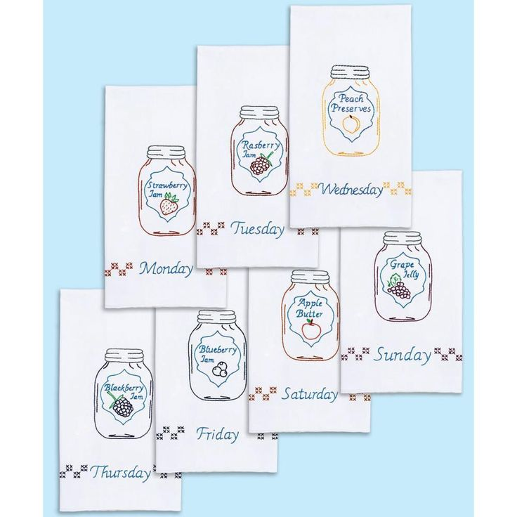"Stamped White Decorative Hand Towels 15""X30"" Set Of 7-Mason Jars Days Of The Week"