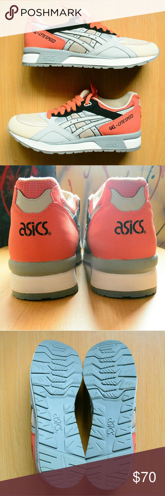 Men's ASICS GEL-LYTE Speed Runners ****FAST SHIPPING****  New, Men's ASICS GEL-LYTE Speed Runners  Color: Gray Stripes / Orange Heel & Laces / Cream Toe Box  Size: 12 US / 45.5 EUR / 29.5 CM  ***With Original Box Asics Shoes Sneakers