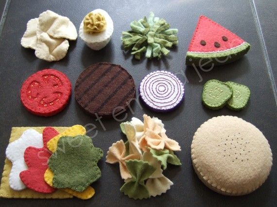 Felt Food Summer Cookout Set Sewing Pattern PDF par sweetemmajean