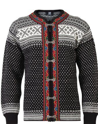 Unisex Cardigan The Setesdal Valley pattern is one of the most typical Norwegian signature patterns. Housewives have knitted this pattern for several hundred years. The cross motif on the front of the sweater was supposed to fend off evil spirits from their husbands and children.